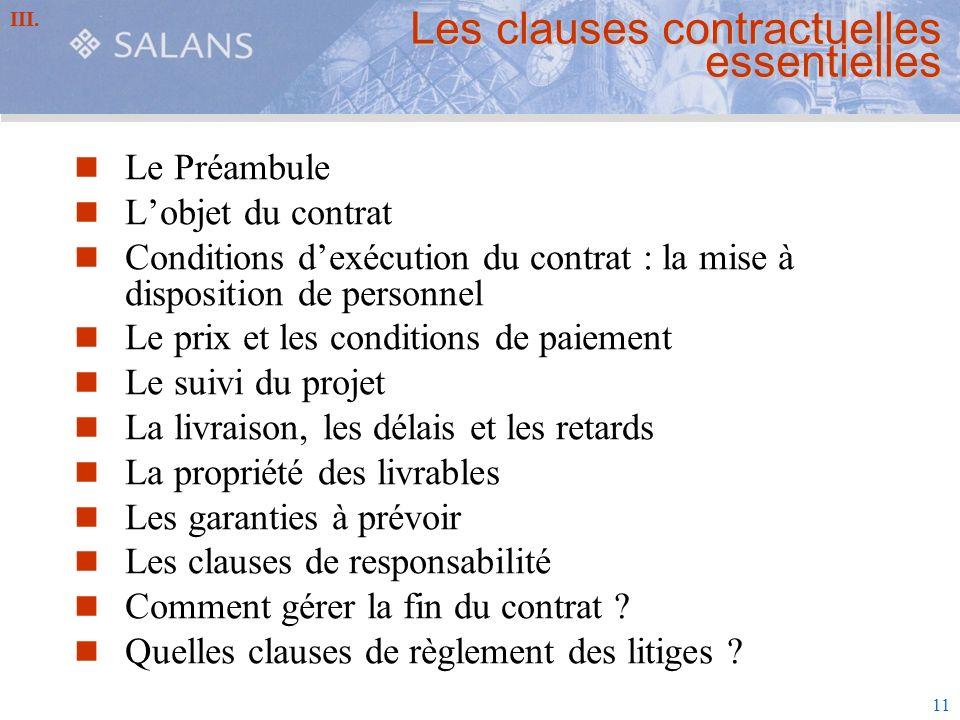 Les clauses contractuelles essentielles