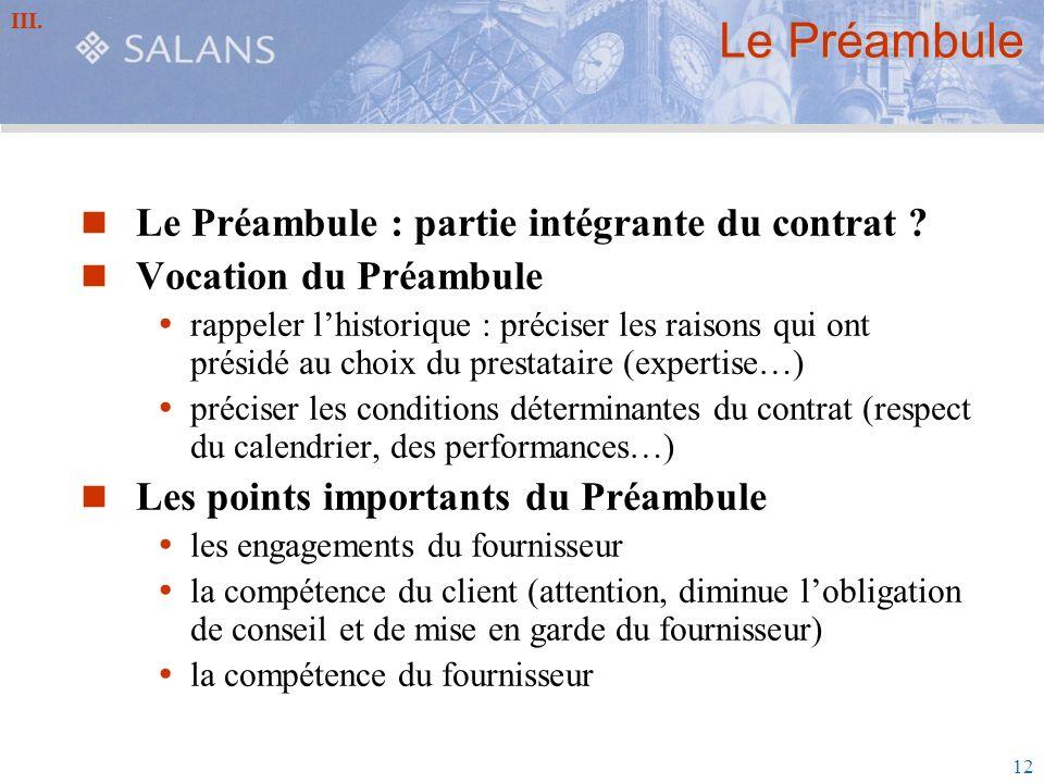 Le Préambule Le Préambule : partie intégrante du contrat