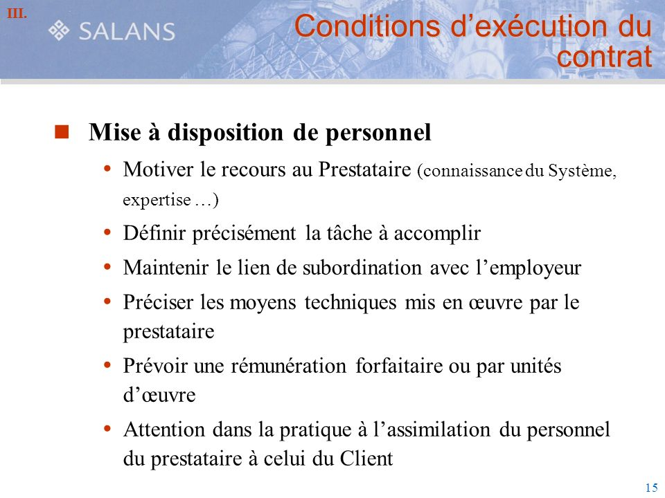 Conditions d'exécution du contrat