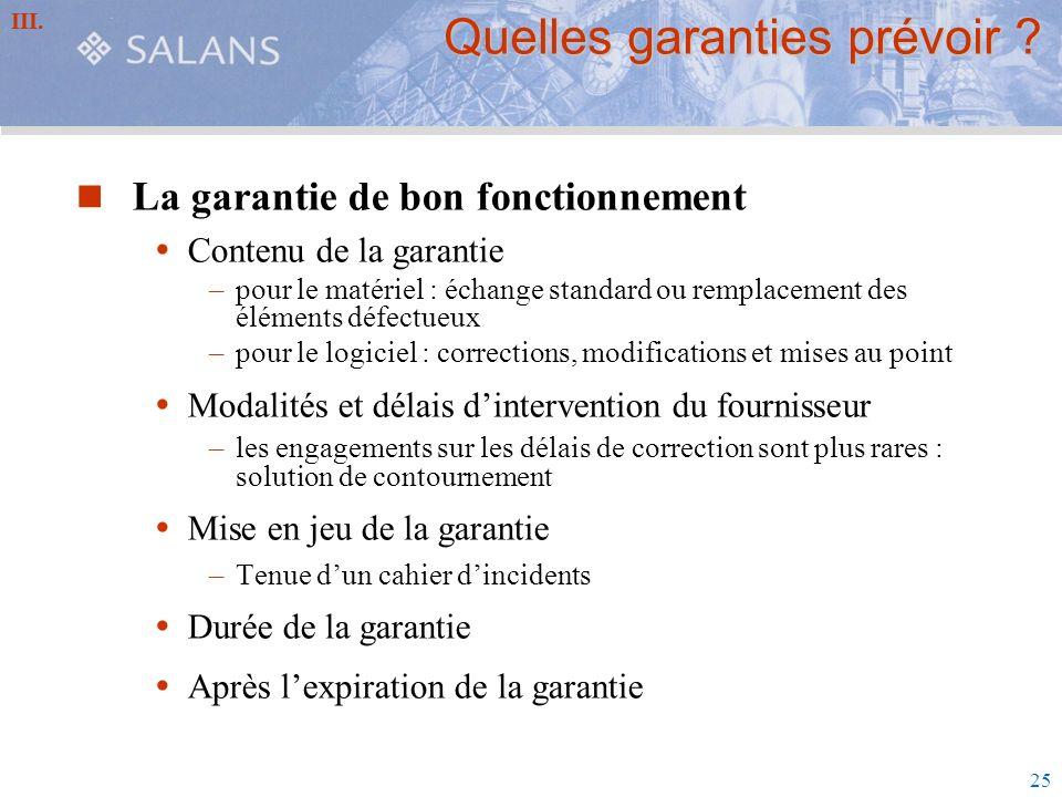 Quelles garanties prévoir