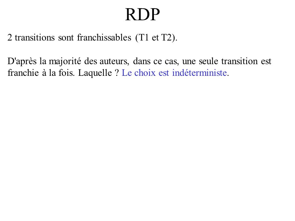 RDP 2 transitions sont franchissables (T1 et T2).