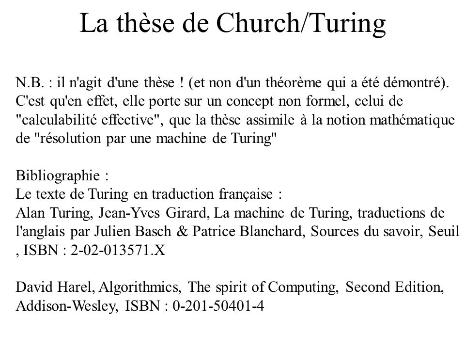 La thèse de Church/Turing