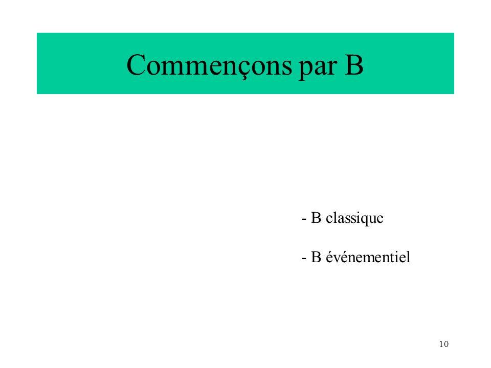 Commençons par B B classique B événementiel