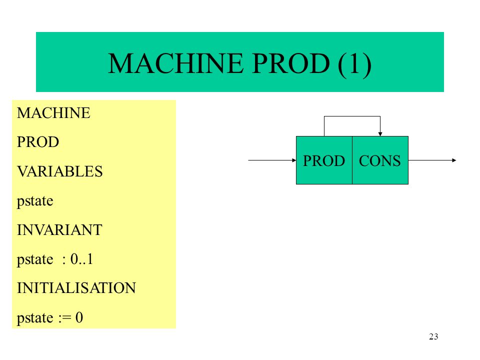 MACHINE PROD (1) MACHINE PROD VARIABLES pstate INVARIANT pstate : 0..1