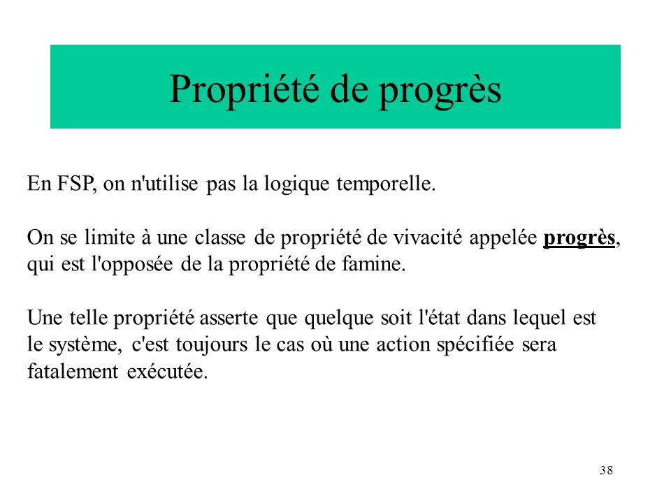 Propriété de progrès En FSP, on n utilise pas la logique temporelle.