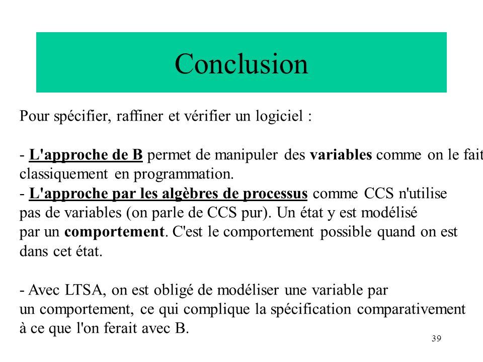 Conclusion Pour spécifier, raffiner et vérifier un logiciel :