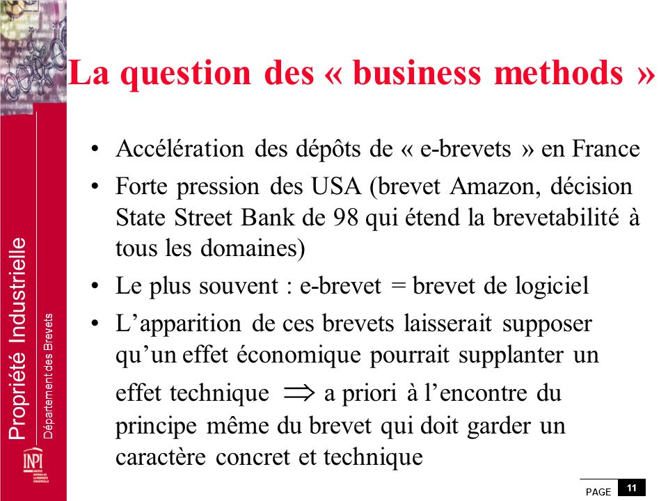 La question des « business methods »