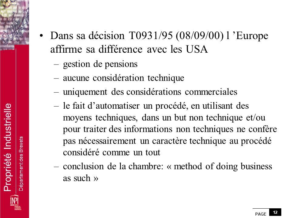 Dans sa décision T0931/95 (08/09/00) l 'Europe affirme sa différence avec les USA