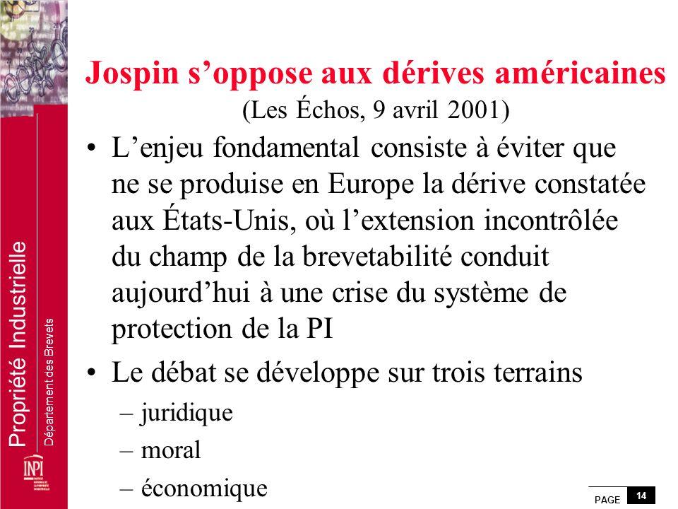 Jospin s'oppose aux dérives américaines (Les Échos, 9 avril 2001)