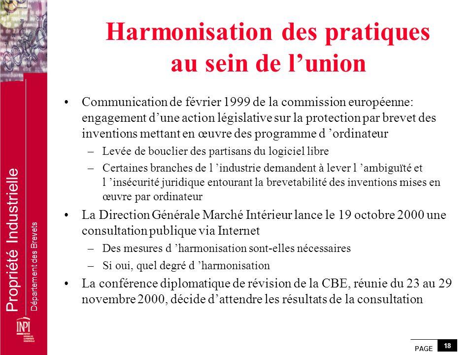 Harmonisation des pratiques au sein de l'union