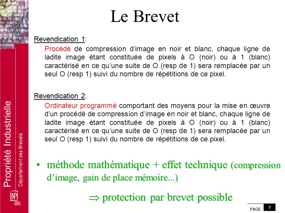 protection par brevet possible