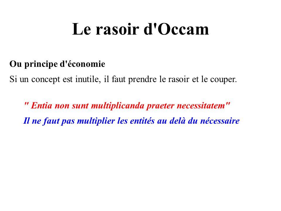 Le rasoir d Occam Ou principe d économie