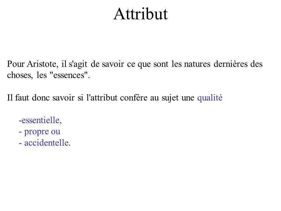 Attribut Pour Aristote, il s agit de savoir ce que sont les natures dernières des choses, les essences .