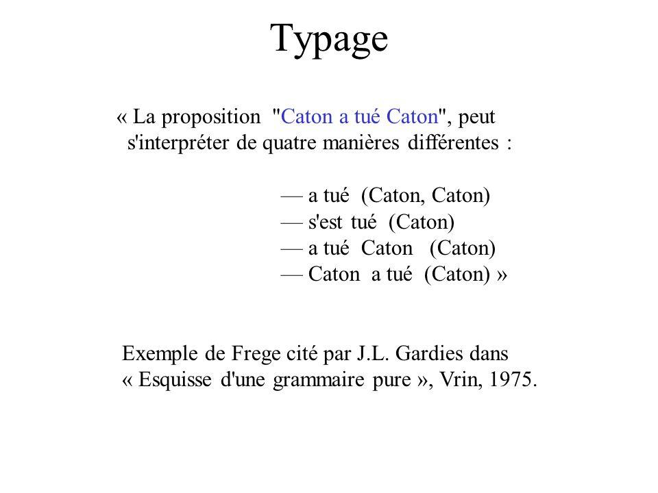 Typage « La proposition Caton a tué Caton , peut