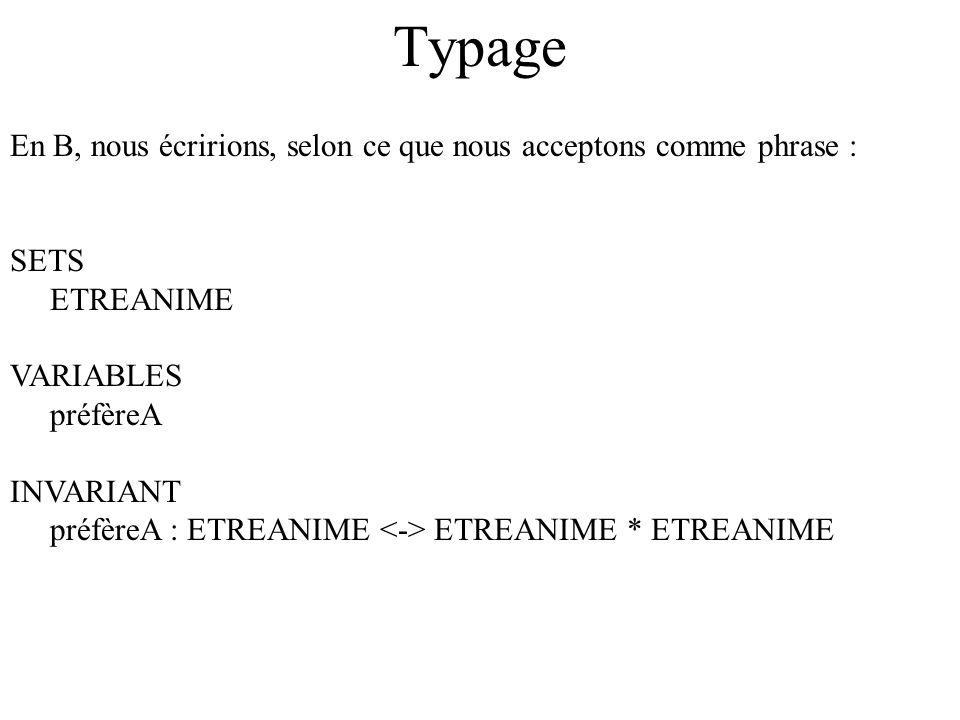 TypageEn B, nous écririons, selon ce que nous acceptons comme phrase : SETS. ETREANIME. VARIABLES. préfèreA.