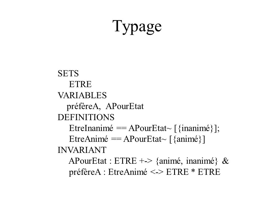 Typage SETS ETRE VARIABLES préfèreA, APourEtat DEFINITIONS