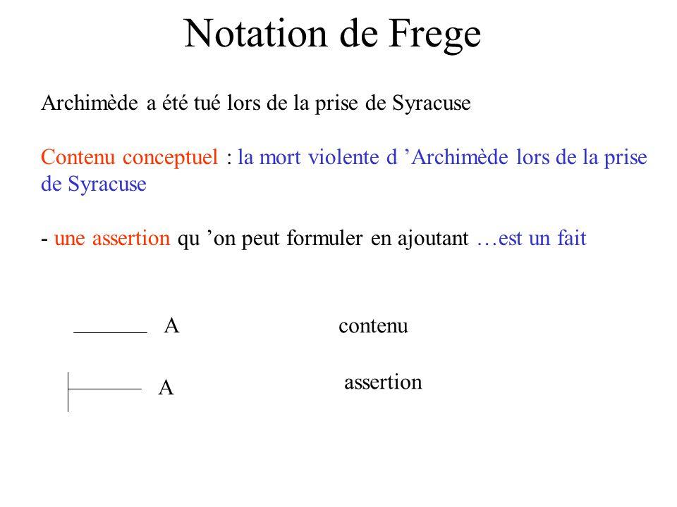 Notation de Frege Archimède a été tué lors de la prise de Syracuse