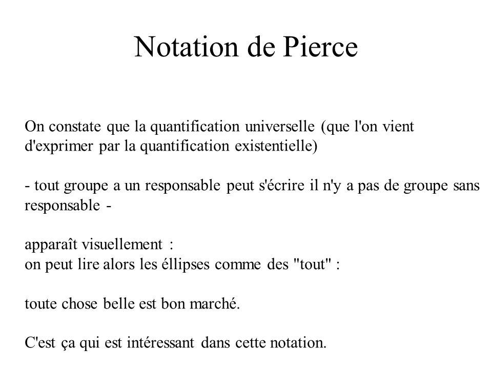 Notation de Pierce On constate que la quantification universelle (que l on vient d exprimer par la quantification existentielle)