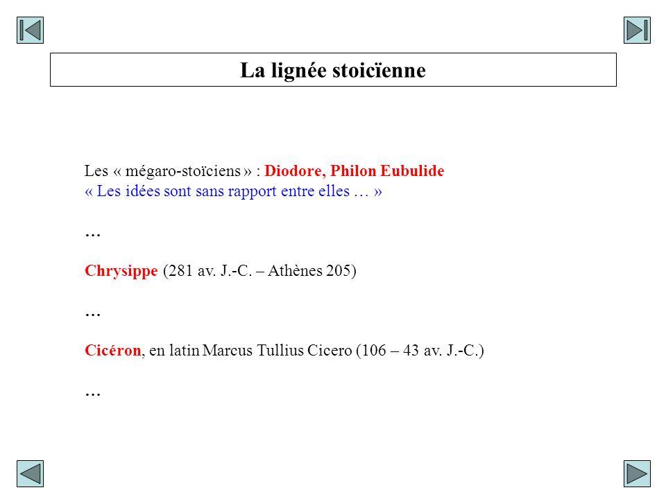 La lignée stoicïenne Les « mégaro-stoïciens » : Diodore, Philon Eubulide. « Les idées sont sans rapport entre elles … »