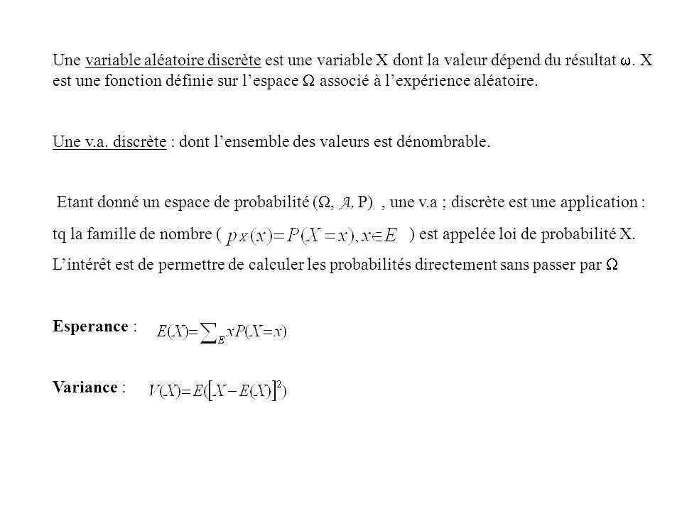 Une variable aléatoire discrète est une variable X dont la valeur dépend du résultat . X est une fonction définie sur l'espace  associé à l'expérience aléatoire.