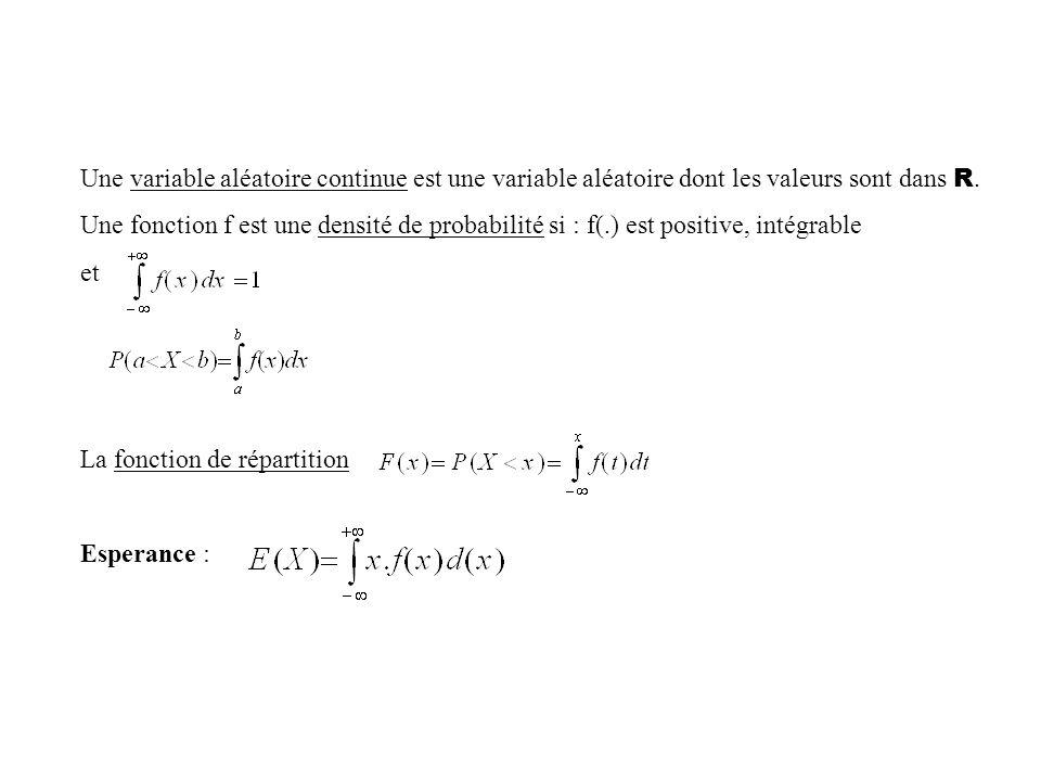 Une variable aléatoire continue est une variable aléatoire dont les valeurs sont dans R.