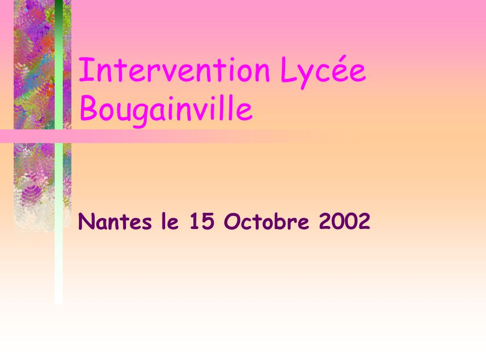 Intervention Lycée Bougainville