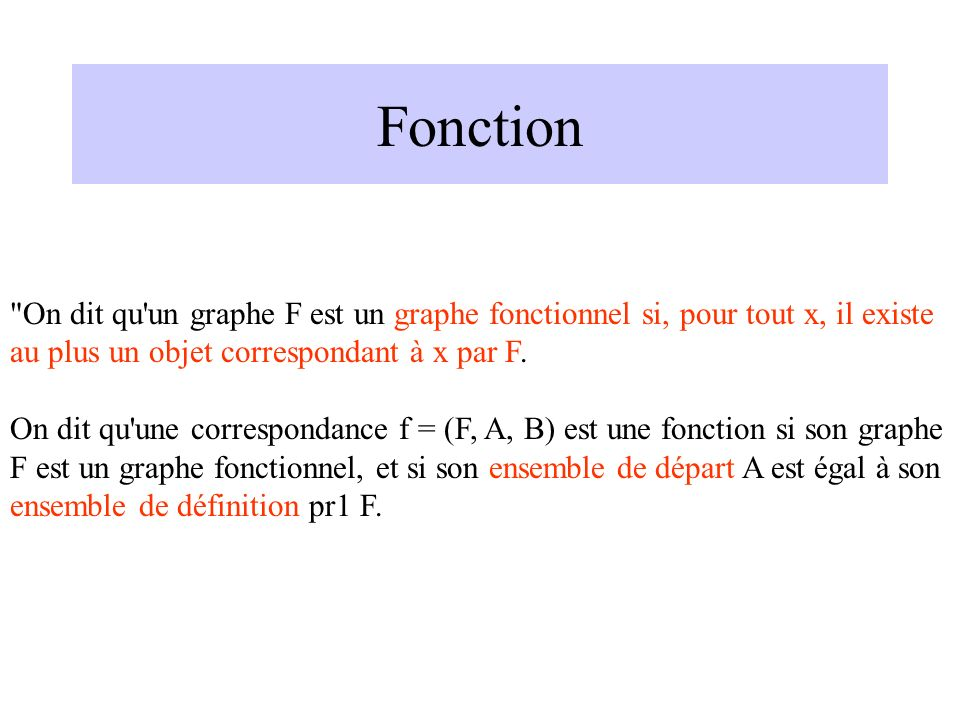 Fonction On dit qu un graphe F est un graphe fonctionnel si, pour tout x, il existe au plus un objet correspondant à x par F.
