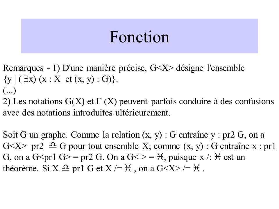 Fonction Remarques - 1) D une manière précise, G<X> désigne l ensemble. {y | ( $x) (x : X et (x, y) : G)}.
