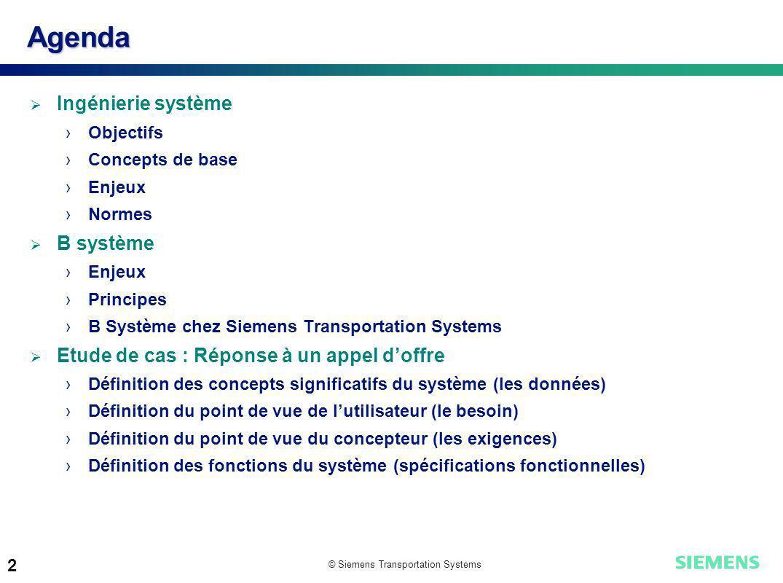 Agenda Ingénierie système B système