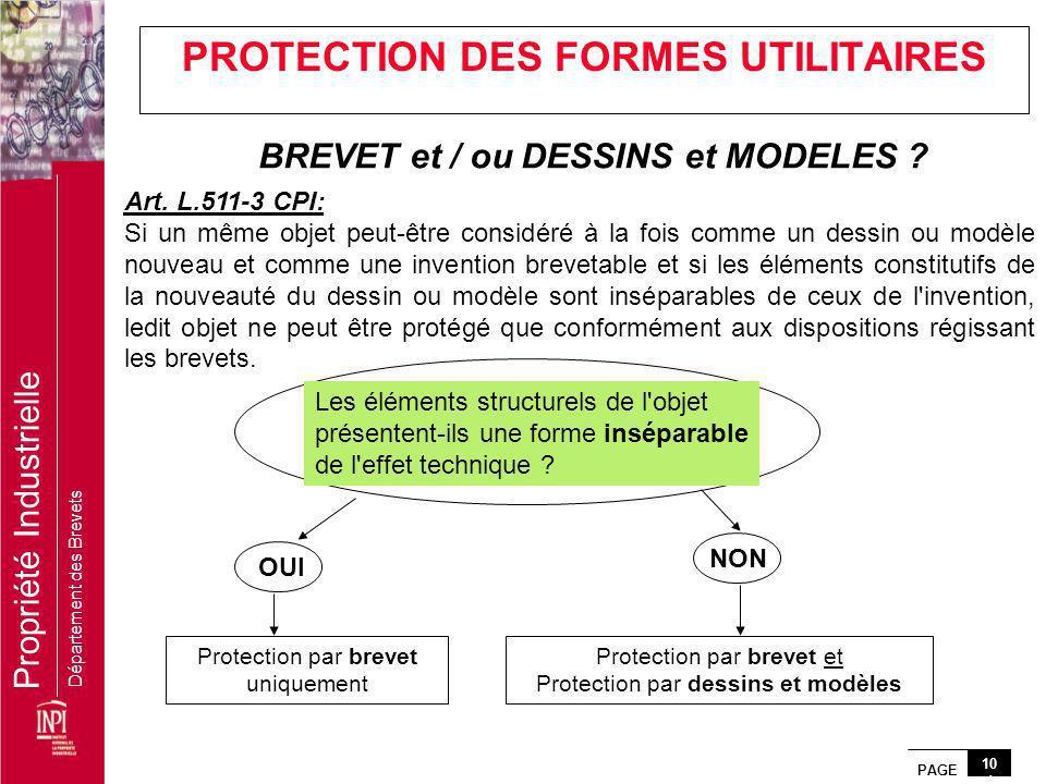 PROTECTION DES FORMES UTILITAIRES