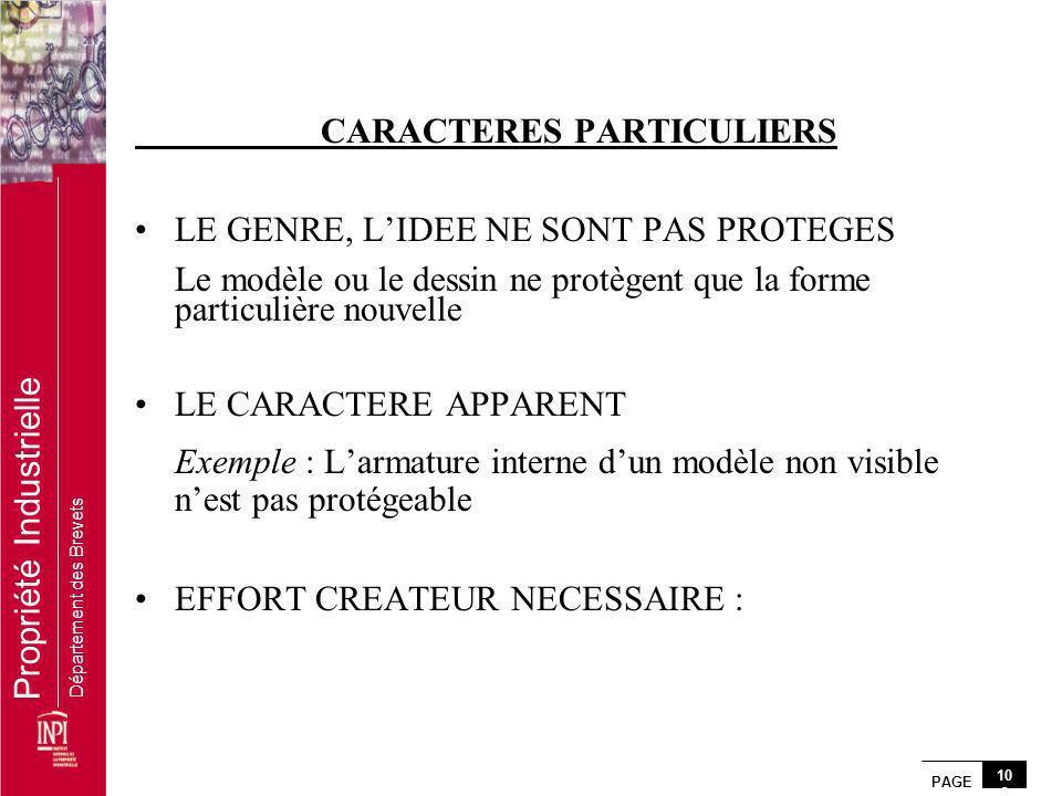 CARACTERES PARTICULIERS LE GENRE, L'IDEE NE SONT PAS PROTEGES