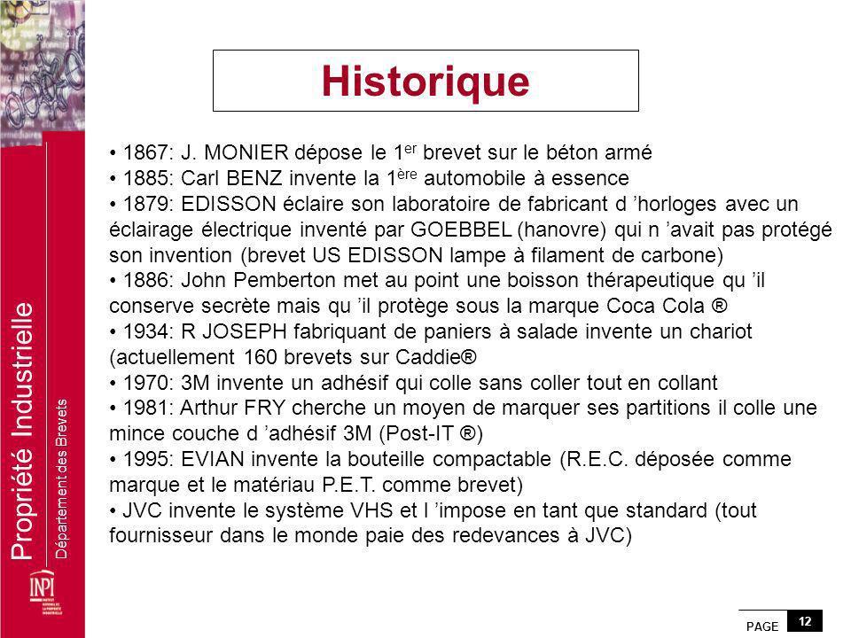 Historique 1867: J. MONIER dépose le 1er brevet sur le béton armé