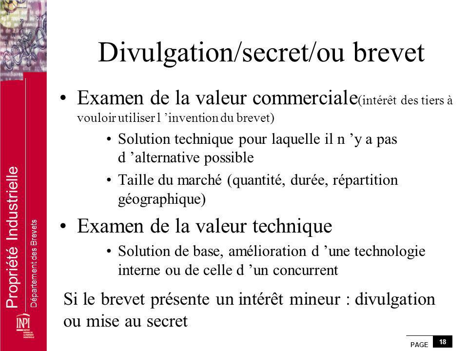 Divulgation/secret/ou brevet