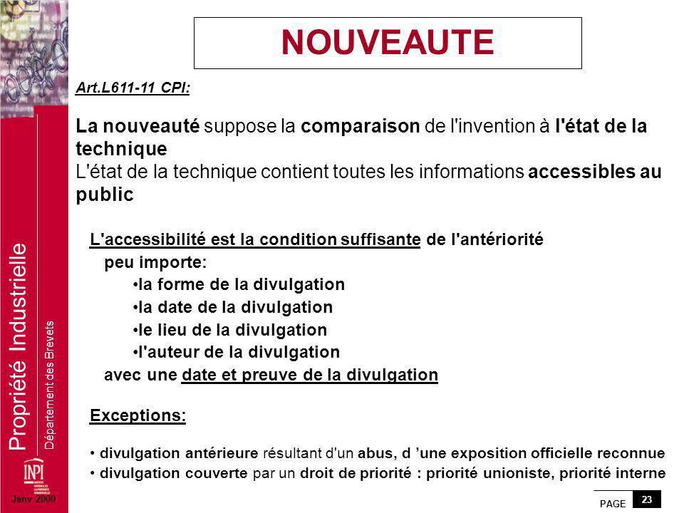 NOUVEAUTE Art.L611-11 CPI: La nouveauté suppose la comparaison de l invention à l état de la technique.