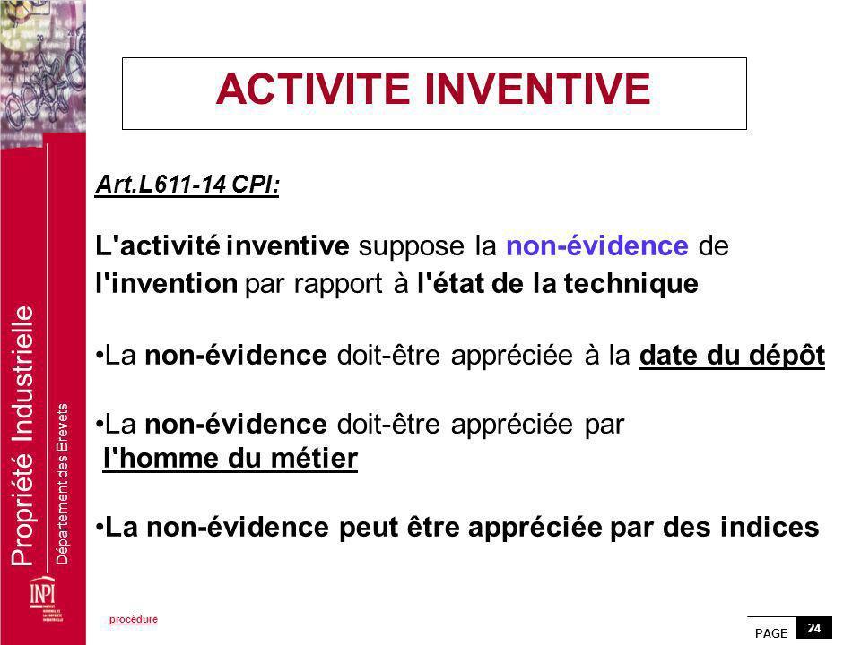 ACTIVITE INVENTIVE Art.L611-14 CPI: L activité inventive suppose la non-évidence de l invention par rapport à l état de la technique.