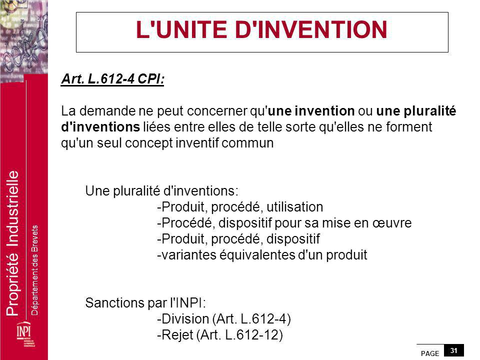 L UNITE D INVENTION Art. L.612-4 CPI: