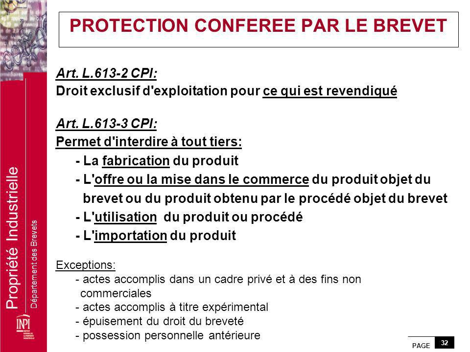 PROTECTION CONFEREE PAR LE BREVET