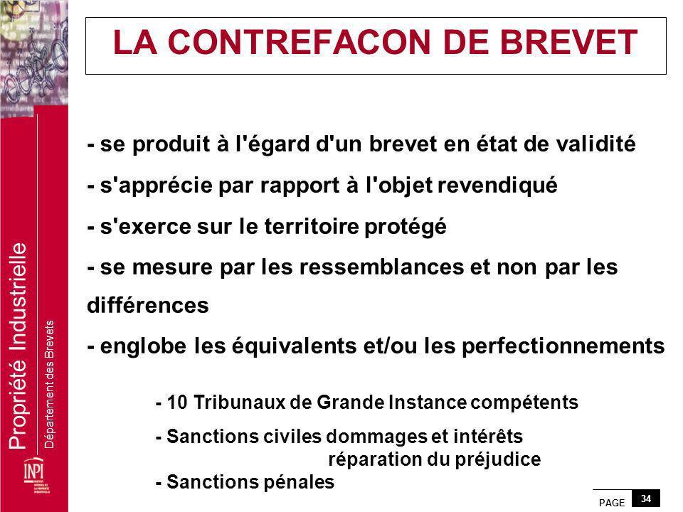 LA CONTREFACON DE BREVET
