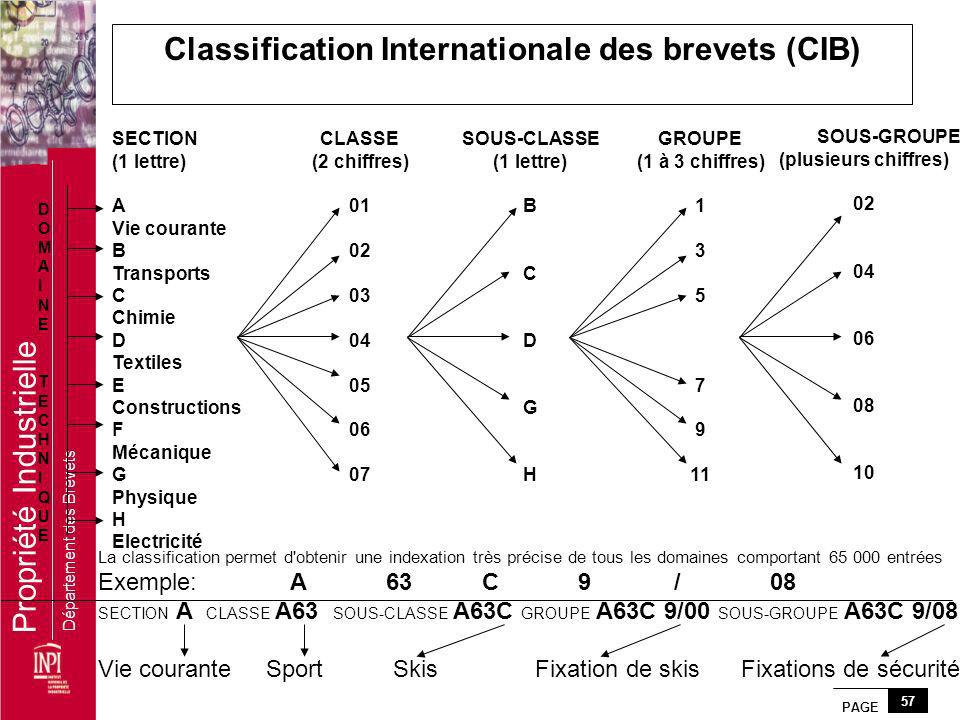 Classification Internationale des brevets (CIB)