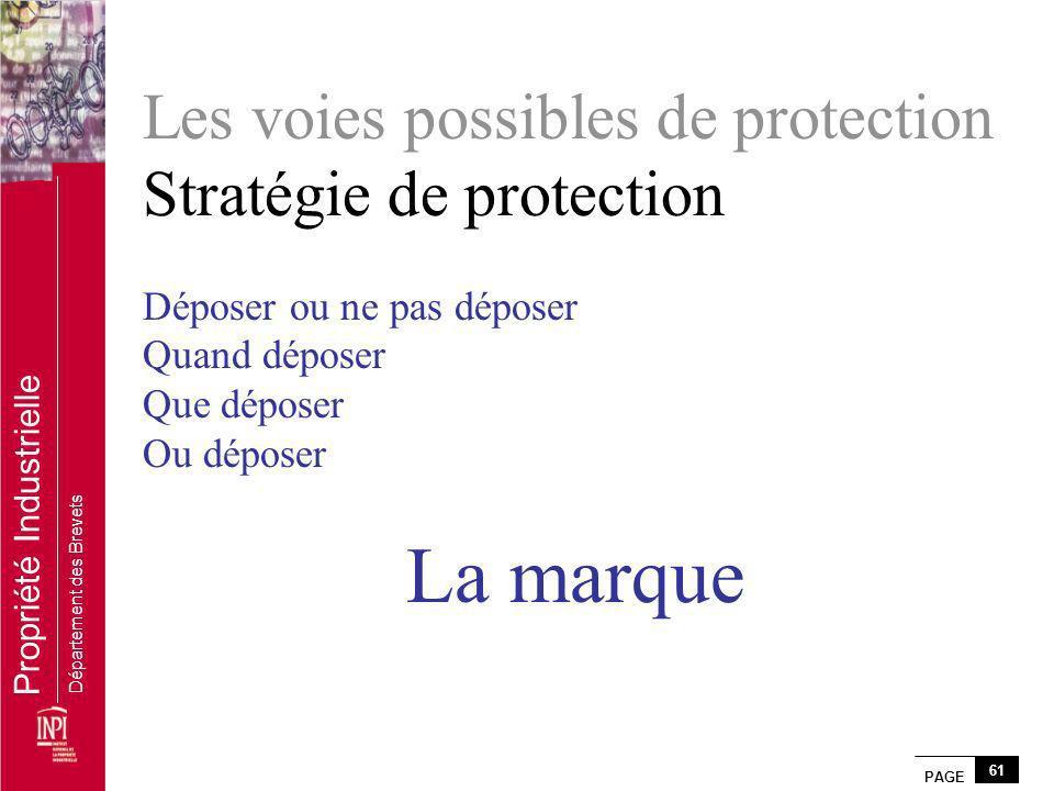 Les voies possibles de protection Stratégie de protection Déposer ou ne pas déposer Quand déposer Que déposer Ou déposer La marque