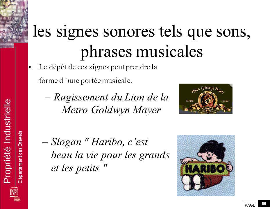 les signes sonores tels que sons, phrases musicales