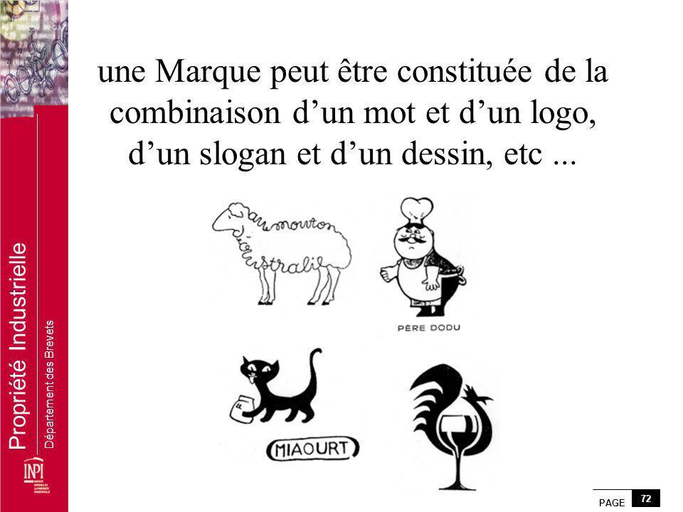 une Marque peut être constituée de la combinaison d'un mot et d'un logo, d'un slogan et d'un dessin, etc ...