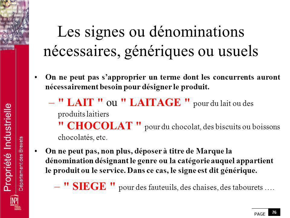 Les signes ou dénominations nécessaires, génériques ou usuels