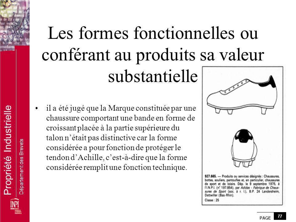 Les formes fonctionnelles ou conférant au produits sa valeur substantielle