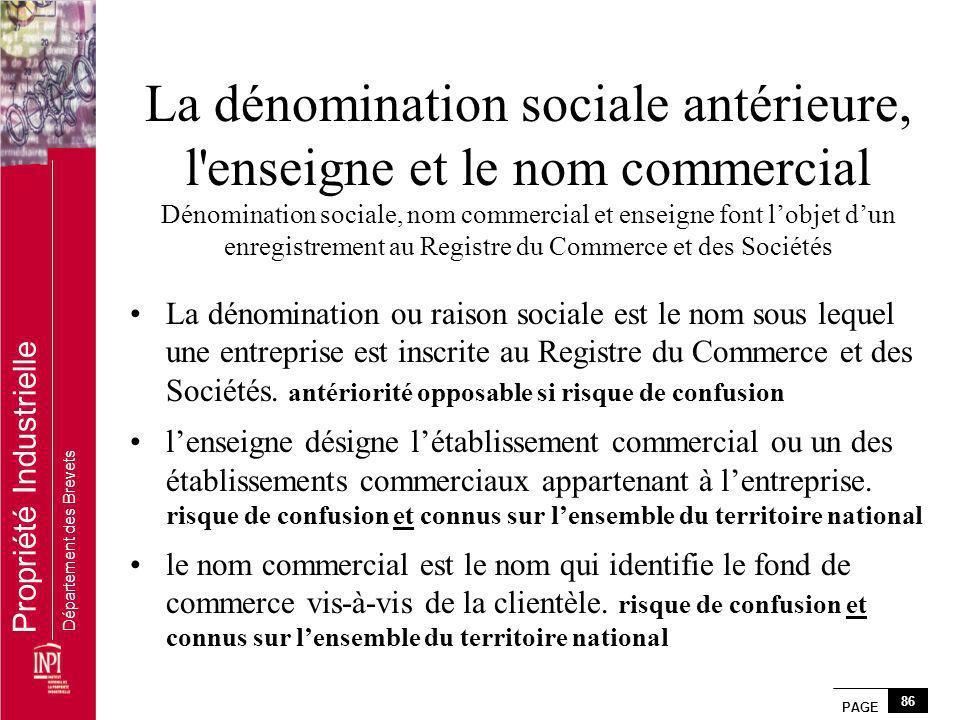 La dénomination sociale antérieure, l enseigne et le nom commercial Dénomination sociale, nom commercial et enseigne font l'objet d'un enregistrement au Registre du Commerce et des Sociétés