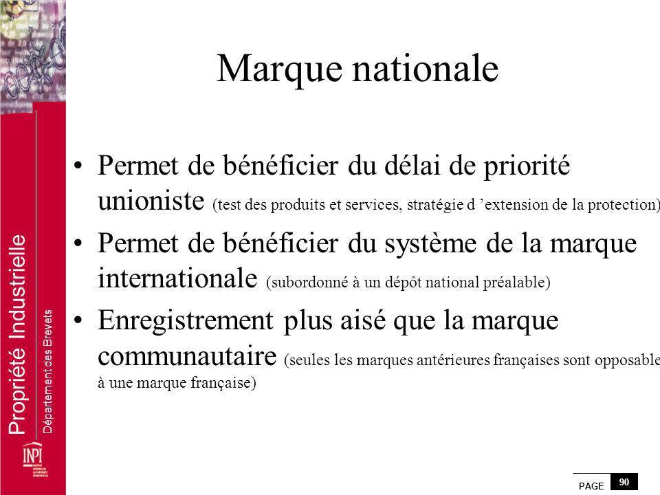 Marque nationale Permet de bénéficier du délai de priorité unioniste (test des produits et services, stratégie d 'extension de la protection)