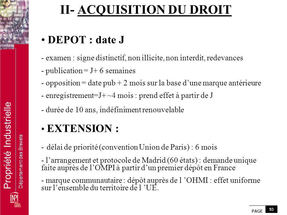 II- ACQUISITION DU DROIT