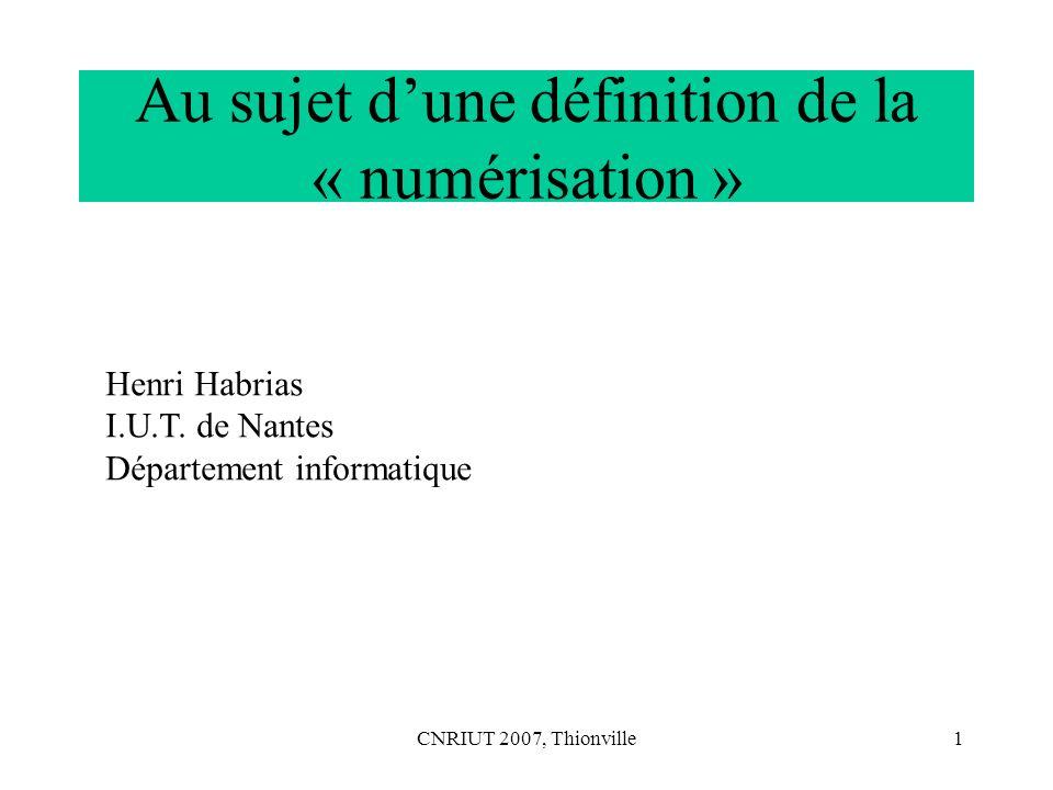 Au sujet d'une définition de la « numérisation »