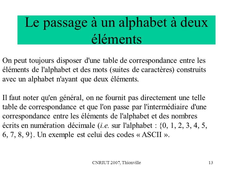 Le passage à un alphabet à deux éléments