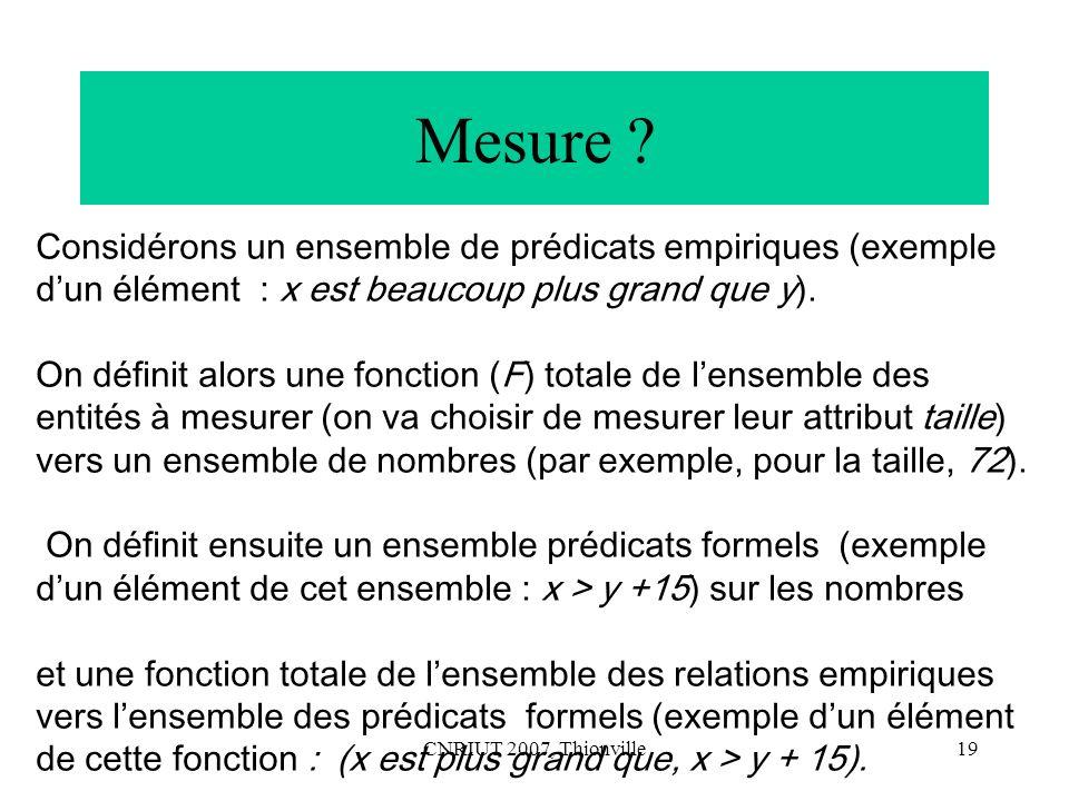 Mesure Considérons un ensemble de prédicats empiriques (exemple d'un élément : x est beaucoup plus grand que y).